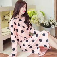 一件代发 韩版女士纯色大波点拉架纯棉圆领长袖中款睡衣睡裙5886