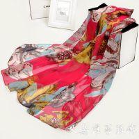 2015亮色新款韩版两用披肩 真丝围巾厂家直销 大花朵图案时尚丝巾