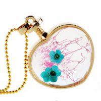 心形金色湖蓝花朵外贸饰品挂件正品玻璃水晶韩版长款项链女