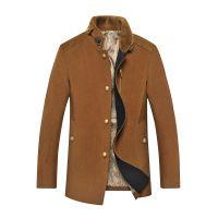 2014秋冬新款男式夹克外套 时尚立领修身外套 中老年毛呢夹克批发