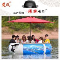 电动新款公园BBQ水上餐厅野炊玻璃钢船休闲娱乐设备烧烤游艇服务类船