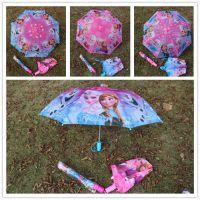 全网 冰雪奇缘直柄暗扣折叠雨伞 儿童雨伞 3色可选现货供应