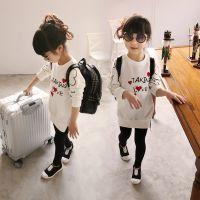 2015春秋款童装 韩版新品全棉儿童打底上衣中小女童T恤衫中长版