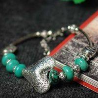 一见倾心藏银心型女款首饰 原创天然绿松石手链 蜜意转运珠饰品