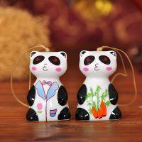 现货批发陶瓷萌系熊猫风铃 新款现代艺术手工白瓷彩绘纸盒装风铃