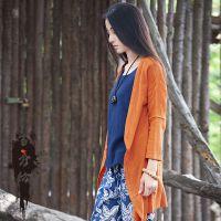 工厂直销批发女装春夏季新品纯麻原创不规则女式棉麻亚麻开衫衬衫