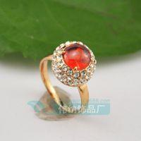 AA2889 天然缅甸红宝石戒指女戒克拉18k玫瑰金群镶钻石首饰批发