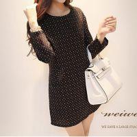 韩国秋冬新款实拍 甜美可爱彩色波点宽松气质连衣裙 B36#8602