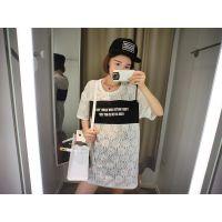 蜜桃家 2015夏季新款 韩版蕾丝字母打底衫 中长款修身蕾丝T恤女潮