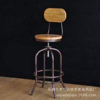 美式乡村实木酒吧椅 餐厅椅子升降椅会所铁艺椅创意酒吧靠背椅子
