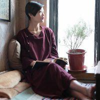 2015春装新款高档中式肌理麻质袍子红色秋冬连衣裙一件代发女装