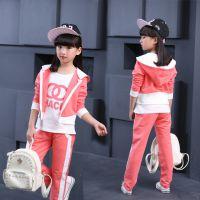 韩版童装潮流长袖运动服新款中大童春秋款女孩时尚三件套装K12L36