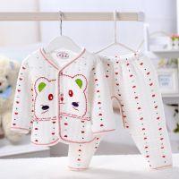 春秋加厚纯棉宝宝保暖婴幼儿服装全棉婴儿内衣套装  新生儿服2011