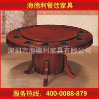 热卖 实木橡木手动餐台 实木电动火锅餐桌圆火锅桌 厂家定做