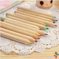 迪士尼桶装彩色铅笔+卷笔刀 桶装原木铅笔 迷你短彩色铅笔