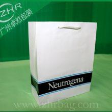 化妆品购物纸袋两层铜版纸覆膜手提环保白卡纸袋美容护肤品礼品袋