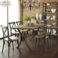 LOFT美式乡村工业复古做旧咖啡厅桌子餐厅餐桌铁艺实木餐桌椅组合