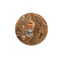 抗洪救灾3D紫铜大铜章定制 铜 立体高浮雕大铜章 银泰厂家