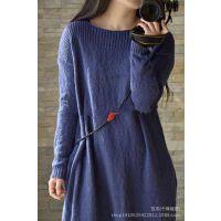 一字领款例外风格100%全棉线裙袍  欧美风纯色连衣裙 专柜品质