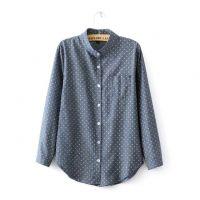 春季打底衫新款韩版复古修身立领小波点衬衣百搭显瘦长袖衬衫女