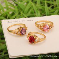 新合谊欧美爆款高端镶彩色钻石镀18k玫瑰金戒指畅销首饰外贸批发