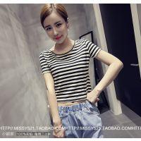 【小颖家】2015夏装新款韩版修身短款圆领必备显瘦打底衫t恤 女