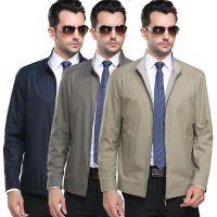 2015新款中年男式薄款商务休闲立领夹克外套 柒牌男装纯色茄克衫