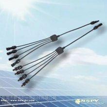 光伏4转1防水汇流连接器/4进1出转接头/PV汇流线束