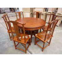 中式榆木实木圆桌餐桌餐椅仿古家具雕花1.2米1.4米1.6米1.8米2米