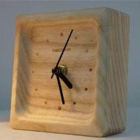 原木闹钟 榉木松木枫木座钟 台钟 木头钟 木制家居摆件定制