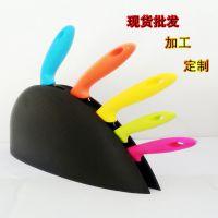 厂家直销五彩色柄菜刀套装带刀座彩色5件套不锈钢刀具 批发