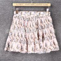 2015夏季新款女式半身裙修身碎花百褶雪纺裙夏款裙子女装半裙Y52