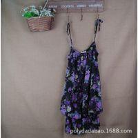 夏季新款日本原单雪纺连衣裙 复古经典碎花裙 外贸原单女装吊带裙