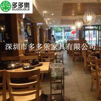 广东蒸汽火锅圆桌 深圳大理石桌面 橡木桌脚型餐桌