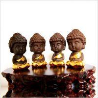 天和雕塑 精品小沙弥彩砂陶工艺品茶宠摆件