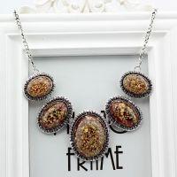 韩国饰品 复古椭圆贝壳琥珀花朵波西米亚 夸张短项链 锁骨链 批发