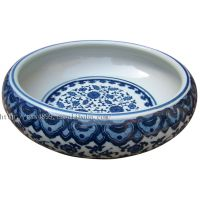 景德镇陶瓷 瓷器工艺品金鱼缸 鱼盆 仿古青花缠枝莲笔洗 多种规格