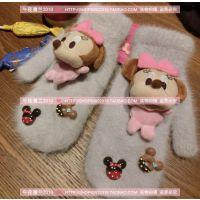 韩国东大门原创米妮米奇卡通冰淇淋球球饼干兔毛连指冬季保暖手套