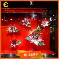 季节橱窗美陈展示用仿真花朵昆虫道具定制