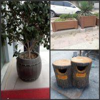园林景观、市政工程、水泥仿木垃圾桶户外用品,耐腐蚀
