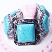 SZ6099 欧美大牌 方形多颗大宝石手镯绿松石 合金雕花 饰品批发