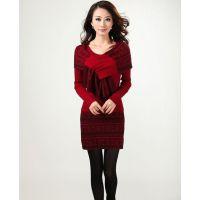 秋冬新款韩版女装中长款针织毛衫修身显瘦毛衣打底衫带围巾厚