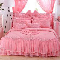 全棉蕾丝家纺四件套纯棉田园公主韩版床裙婚庆床品紫粉色一件代发