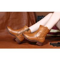 法蒂娜原创个性真皮短靴春秋英伦复古马丁靴手工鞋单靴女鞋fc0204 红棕色皮里 38(爆款热卖