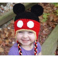 欧美爆款可爱米奇宝宝护耳帽子 手工编织秋冬男女婴儿毛线帽
