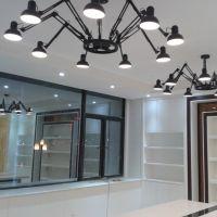 铁艺伸缩黑蜘蛛吊灯多头 美式乡村创意个性客厅餐厅办公室灯具