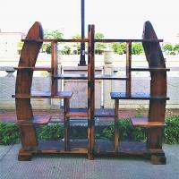 印象典藏苏工精雕马踏飞燕 老船木博古架多宝阁 置物架展示架