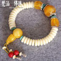 仿象牙佛珠手链民族风手串藏式隔绿松石片珠 泰国香珠