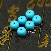 天然优化高品质 美国绿松石苹果园 高瓷蓝 藏式佛珠配饰 散珠批发