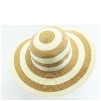 夏天防嗮热卖产品 黄白条纹草帽 夏季天农民农用草编凉帽